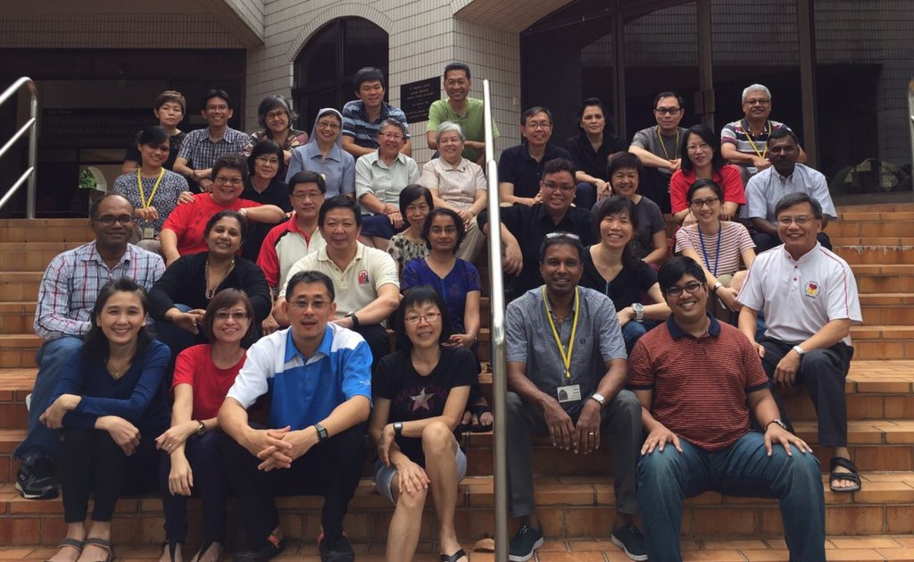 Igniting the light of Christ: The first batch of participants of the Nativity Community of Intentional Disciples programme of the Church of Nativity of the Blessed Virgin Mary pose with parish priest, Fr Henry Siew (second row, extreme right). Photo: Office for the New Evangelisation